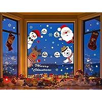 Grande Pegatinas de Navidad arbol fiesta extraíbles adorable Papá Noel nieve alce colores pegatina de pared etiqueta engomada (D)