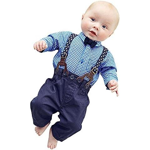 Ularma Neonato Smoking Bambino Camicia + Bib Pantaloni Tuta Eleganti