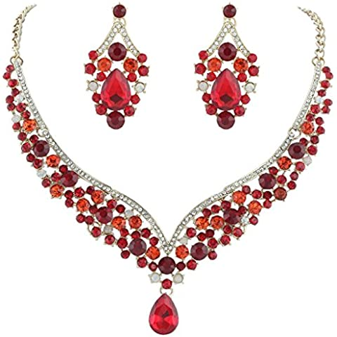 Ever Faith®, Set gioielli, collana e orecchini, forma a V, in cristallo austriaco