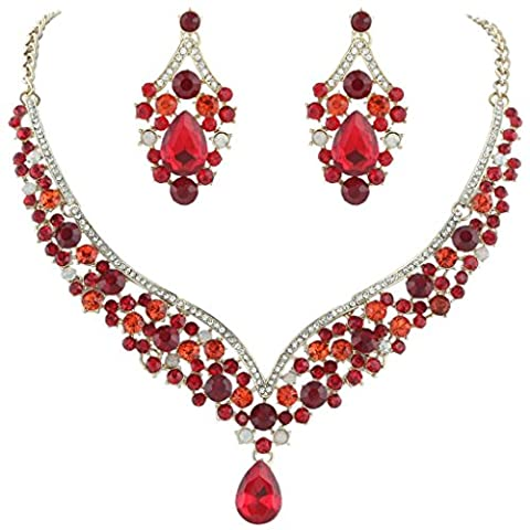 EVER FAITH® österreichischen Kristall elegant V-Form Blume Party Halskette mit Ohrring Anhänger Schmucks-Set Rot Silber-Ton