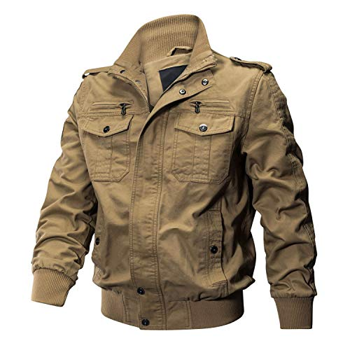 KEFITEVD Bomberjacke Herren Winter Armee Klassisch Freizeitjacke Arbeitsjacke Praktisch Mehrfach Taschen warm Khaki 2XL