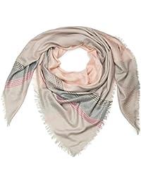 styleBREAKER foulard XXL avec imprimés losanges et rayures, style ethnique  et franges, écharpe, tissu, femme 01016128, couleur Gris clair… 0d6be3b2f23