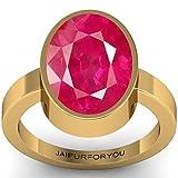 jaipurforyou Certified Ruby (Manik) 13.70cts or 15.25 ratti Panchdhatu ring