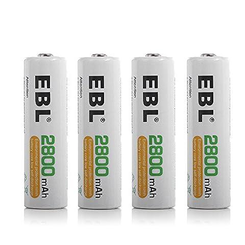 EBL lot de 4 unités 2800mAh AA piles rechargeables Ni-Mh 1200cycles