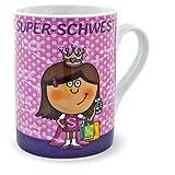 Design@Home Tasse Kaffeetasse Becher Super Schwester rosa weiß Porzellantasse
