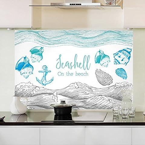 Surface résistante à l'huile de cuisine résistance à haute température anti-seize carreaux de mur de verre autocollant graisse de s'en tenir à l'extracteurs étanche autocollant résistant à l'huile 90*60cm, Shell Beach