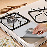 CucinaGood 4Pcs Reusable Silver Gas Range Protector Liner Non Stick Gas Hob Protectors and Magic Emery Sponge Brush Eraser Cleaner Kitchen Rust Cleaning Tool