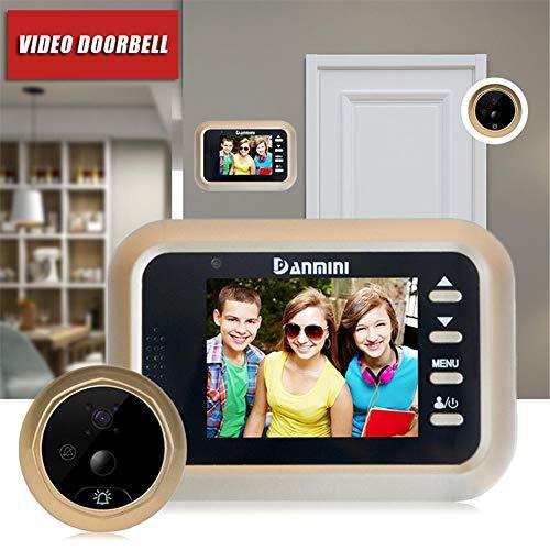 """StageOnline Timbre Video, DANMINI Q8 2.4"""" Pantalla LCD a Color Visor de Mirilla de Puerta Digital HD IR Cámara de la Puerta de visión Nocturna Detección de Movimiento PIR"""