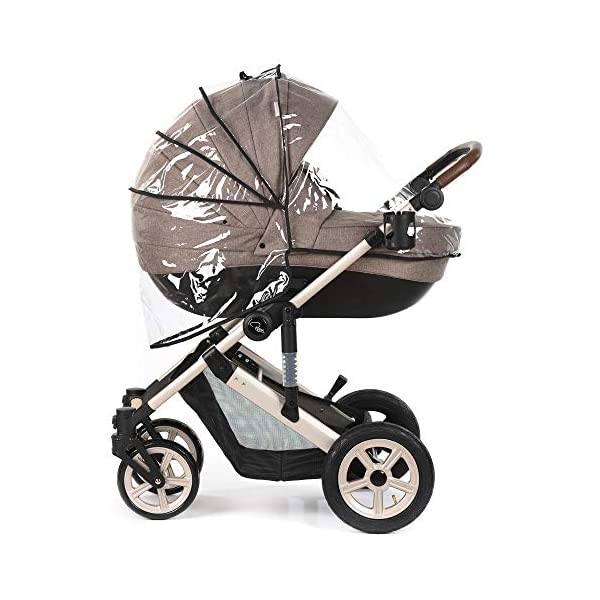 Roma Moda Pram, Includes Carry Cot, Rain Cover, Cup Holder and Bag - Tweed Roma Suitable from newborn - 15kg - Raised backrest in the carry cot Lightweight aluminium frame - All round suspension - Easy fold All terrain tyres (rear air tyres and front foam tyres) Large hood with viewing window 2