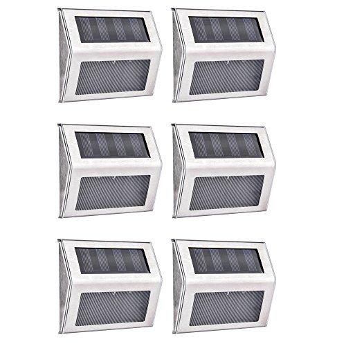 Luces Solares LED Exterior 6 Piezas Luces Solares Para Jardin Acero Inoxidable a Prueba de Agua Bueno Para Pasos de Pared Jardin