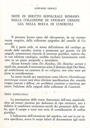 Note di diritto sepolcrale romano: dalla collezione di epigrafi urbane gia' nella rocca di Cusercoli.
