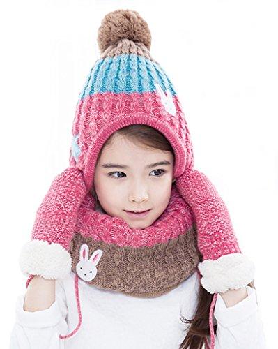 Smile YKK Kinder Mädchen Junge Mütze Kälteschutz Sets Schal Handschuhe Wintermütze Bommelmütze Pelzmütze Beanie Mütze L Pink