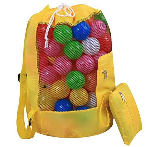 Storage Bag FORH Baby Strand Tragbare Kinder Spielzeug Organizer Bathroom Aufbewahrungstasche Outdoor Travel Beach Shell Sandsack Carry Case Mesh Drawstring Rucksack Bag (Gelb)