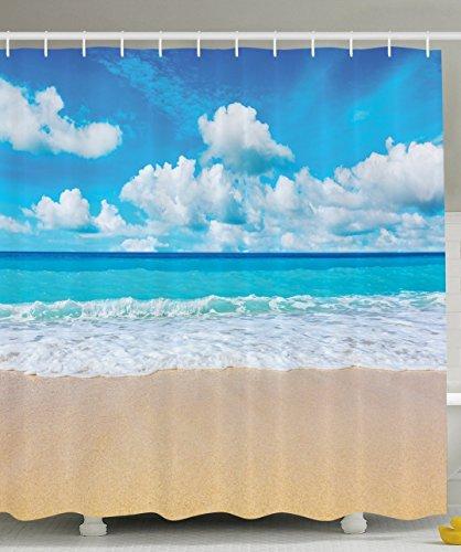 BBFhome Duschvorhang 180 x 180 cm Tropische Küsten zeitgenössische moderne Dekor Kollektion Seascapes Seashore Ozean Paradise Beach Landschaft Polyester Gewebe Badezimmer Set mit Haken Blau Weiß Beige -