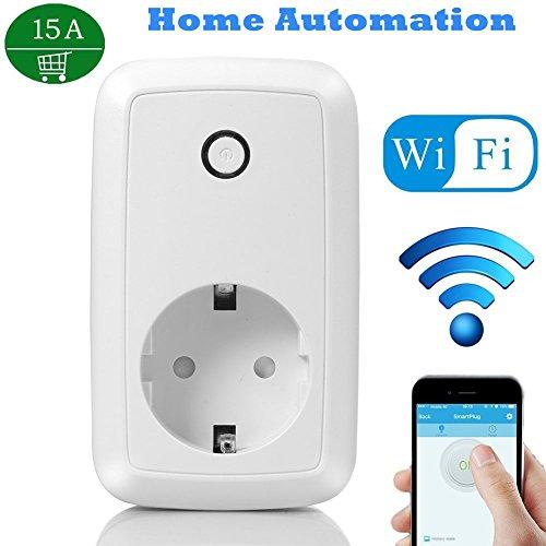 YUNJIN Intelligente WLAN Steckdose, Smart Wifi Steckdose mit App Steuerung überall und zu jeder Zeit) für IOS und Android-15A Current 15a Lampe