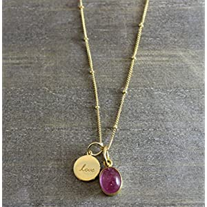Rosa Turmalin Love Charm Anhänger 14kt Gold gefüllt Halskette 45cm