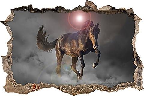 Pixxprint 3D_WD_5065_62x42 elegantes Pferd beim springen Wanddurchbruch 3D Wandtattoo, Vinyl, schwarz / weiß, 62 x 42 x 0,02