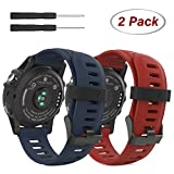 MoKo Correa para Garmin Fenix 3 / Fenix 5X Watch, 2 Piezas Pulsera de Respuesto de Suave Silicona, (2PCS) Banda Deportiva para Garmin Fenix 3 / Fenix 3 HR/Fenix 5X Smart Watch, Rojo Oscuro & Azul