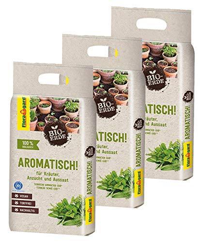 Floragard Bio-Erde Aromatisch 3x3 Liter - für Anzucht und Aussaat sowie für Kräuter - torffrei und vegan
