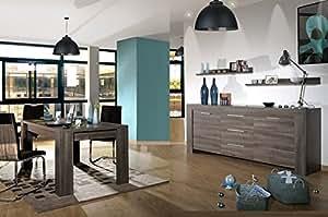 Séjour complet table extensible / 4 chaises / bahut Swithome Anglet Gris Kilkeny