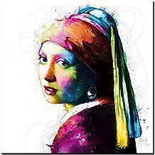 Vermeer Pop, imagen vidrio acrilico, Patrice Murciano, 30 cm x 30 cm , impresión directamente en vidrio , Art-Print , Pop-Art, Cyber-Art , Punk-Art , Plexi Colección, cuadro listo para colgar