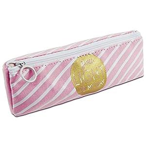 Katara 1800 Estuche de Lápices Escuela / Oficina Papelería - Bolso Escolar con Patrón, Rosa-Blanco con Lineas