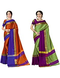 Art Decor Sarees Cotton Saree With Blouse Piece (Pack Of 2) (Ashi N Combo_Orange Blue & Pista Green_Free Size)