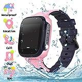 Smartwatch Phone per Bambini Tracker Impermeabile, LBS Localizzato pedometro con Chat Vocale, Sveglia SOS per il Gioco di Matematica Bambini Smart Watch, Regalo Ragazzo e Ragazza, Rosa