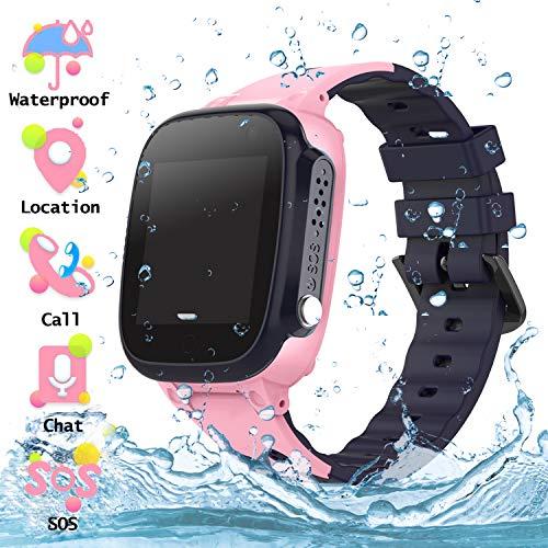 Wasserdichtes Student Kinder Smartwatch Telefon - Touchscreen Kinder Smartwatch mit Anruf Sprachnachricht SOS Taschenlampe Digitalkamera Wecker, Geschenk für Kinder Junge Mädchen Student (S2 - Pink)