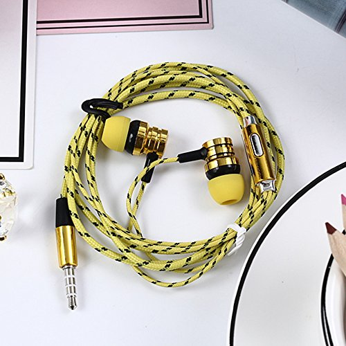 Aubess Handy mit Weizen Draht Kopfhörer in-Ear Geflochten Verkabelung Universal Subwoofer 2 Gold Gold