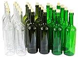 Weinflasche 750 ml ohne/mit Korken Glasflasche leere Flasche Likör Wein 3 Farben