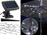 Luminea Schirmbeleuchtung: Solar-LED-Sonnenschirm-Lichterkette mit 8 Strängen und 72 LEDs, IP44 (Solar-Lichterketten-Leuchte)
