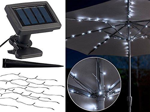 Luminea Solar Schirm Beleuchtung: Solar-LED-Sonnenschirm-Lichterkette mit 8 Strängen und 72 LEDs, IP44 (Regenschirm mit Lichterkette)