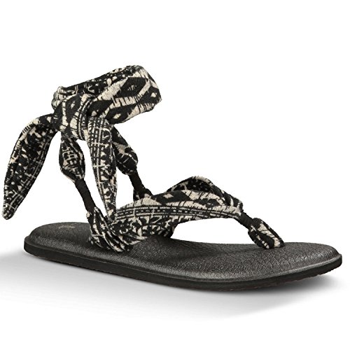 Sanuk sandal wmn yoga prints slinged up noir/blanc/motif tribal Noir - black/white/tribal