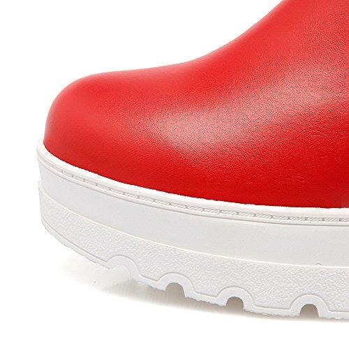 Zip à Rouge Rond Verre Bottes AgooLar Unie Couleur Talon Femme Diamant Correct avec qPw70wtY