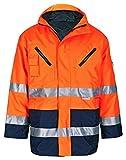 Everest 2in1 Warnschutzparka Winterjacke Arbeitsjacke Sicherheitsjacke Parka Jacke (L, orange-marine)