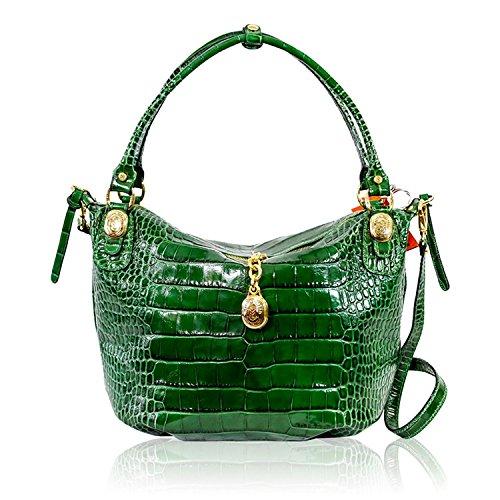 Marino Orlandi Italienischer Designer Emerald Green Croc Geprägte Leder Geldbörse Umhängetasche -