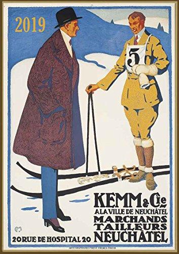 Pixiluv calendario da parete 2019[12pagine 20,3x 27,9cm] carl moos ski sport vintage europea travel poster pubblicità