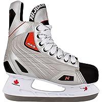 Nijdam Patines de Hockey Sobre Hielo para Hombre Hardboot, Color - Silber Schwarz Rot, Tamaño 42