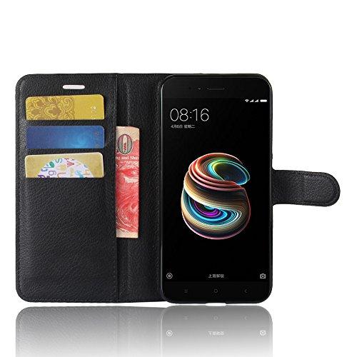 Xiaomi Mi A1 Funda Faux Cuero Billetera Funda para Xiaomi Mi A1 con Stand Funci  n Negro