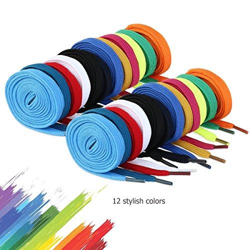 WINOMO 12 Paar Schnürsenkel flache Schuhe Ersatz für Sneakers Stiefel Skates Sport zufällige Farben (Sport-schnürsenkel Flache)