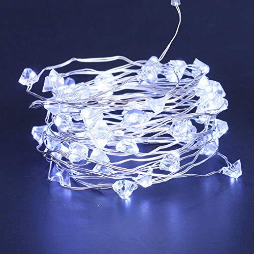 Lichterkette,FeiliandaJJ LED Diamant Kupferkabel Lichterkette LED Licht Hochzeit Party Halloween Innen/Außen Haus Deko String Lights 2 x AA Batterien (Weiß) Aa-led-licht