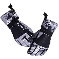Aisprts Ski Gloves, Warmest Waterproof and Breathable Snow Gloves for Mens,Womens,Ladies and Kids Skiing,for Parent Child Outdoor (Sombre Grey, XL(Fit Mens