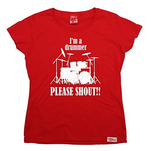 Banned - Camiseta - Manga Corta - para Mujer Rojo Rosso XX-Large