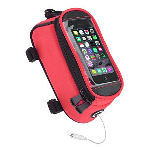 FAVOLOOK Fahrrad-Rohr-Rahmen mit Taschen für 5,5Zoll Touchscreen Handy Taschen oder Sattel Tasche mit Zubehör für Fahrrad, rot (Pvc-rohr Riemen)
