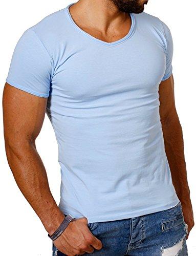 CARISMA Herren Uni Basic T-Shirt mit tiefem V-Ausschnitt Vintage Look Kragen Effekt einfarbig Dehnbare Passform, Grösse:M, Farbe:Hellblau