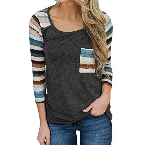 OVERDOSE Mokingtop Damen Floral Splice Printing Rundhals Pullover Bluse Tops T-Shirt (L, Mehrfarbig) -