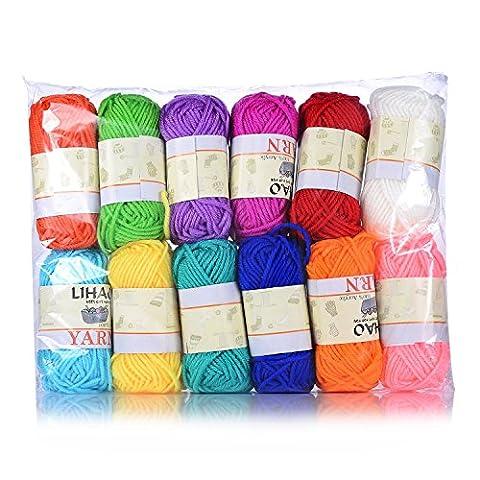 LIHAO Mini Pelotes de Laine Multicolores en Acrylique pour Tricot,