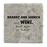 Brandy und Monica und Wein Was ist noch?–Marble Tile Drink Untersetzer