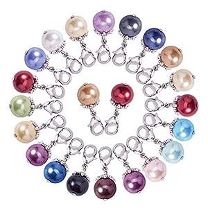 Pandahall Elite 54 Stück tibetischen Stil Legierung Glas Perle Runde Perlen Anhänger mit Karabinerverschluss für Schmuck Machen, 18 Farben, 26 mm, Bohrung: 3,5 mm